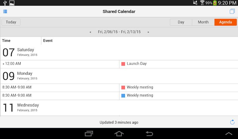 Shared Calendars Screenshot