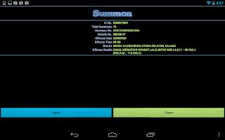 Screenshot of Malaysia JPJ Summons