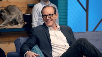 Clark Gregg Wears a Navy Blazer & White Collared Shirt