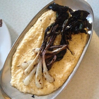 Grilled Ramps with Cheesy Grits