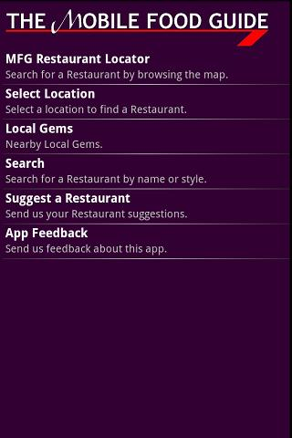 The Mobile Food Guide - screenshot