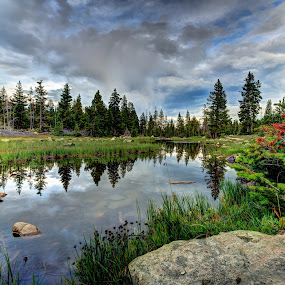 Mirror Lake by Steve Densley - Landscapes Waterscapes ( mountains, reflection, hdr, nature, lake, landscape, , colorful, mood factory, vibrant, happiness, January, moods, emotions, inspiration )