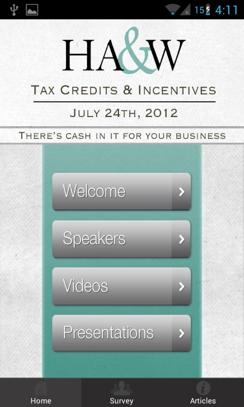 HA&W: Tax Credits & Incentives- screenshot