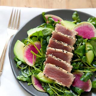 Seared Sesame Tuna Salad with Ginger Soy Vinaigrette.