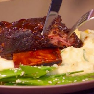 Braised Hoisin Beer Short Ribs With Creamy Mashed Potato And Sesame Mangetout