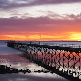 Sunset at Ceduna by Pamela Howard - Landscapes Sunsets & Sunrises ( water, sky, ceduna, sunset, beach, jetty, colours,  )