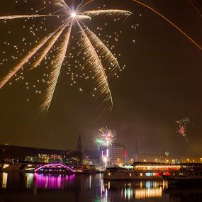New Year Linz, Austria . by Daniel MV - Abstract Fire & Fireworks ( lights, water, new year, ship, fireworks, night, light, black )