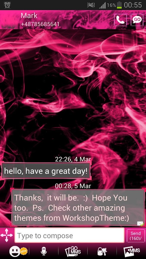 GO SMS Theme Pink Fire - screenshot