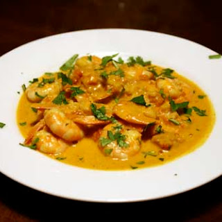 Beginner Almond Shrimp Curry with Tomatoes.