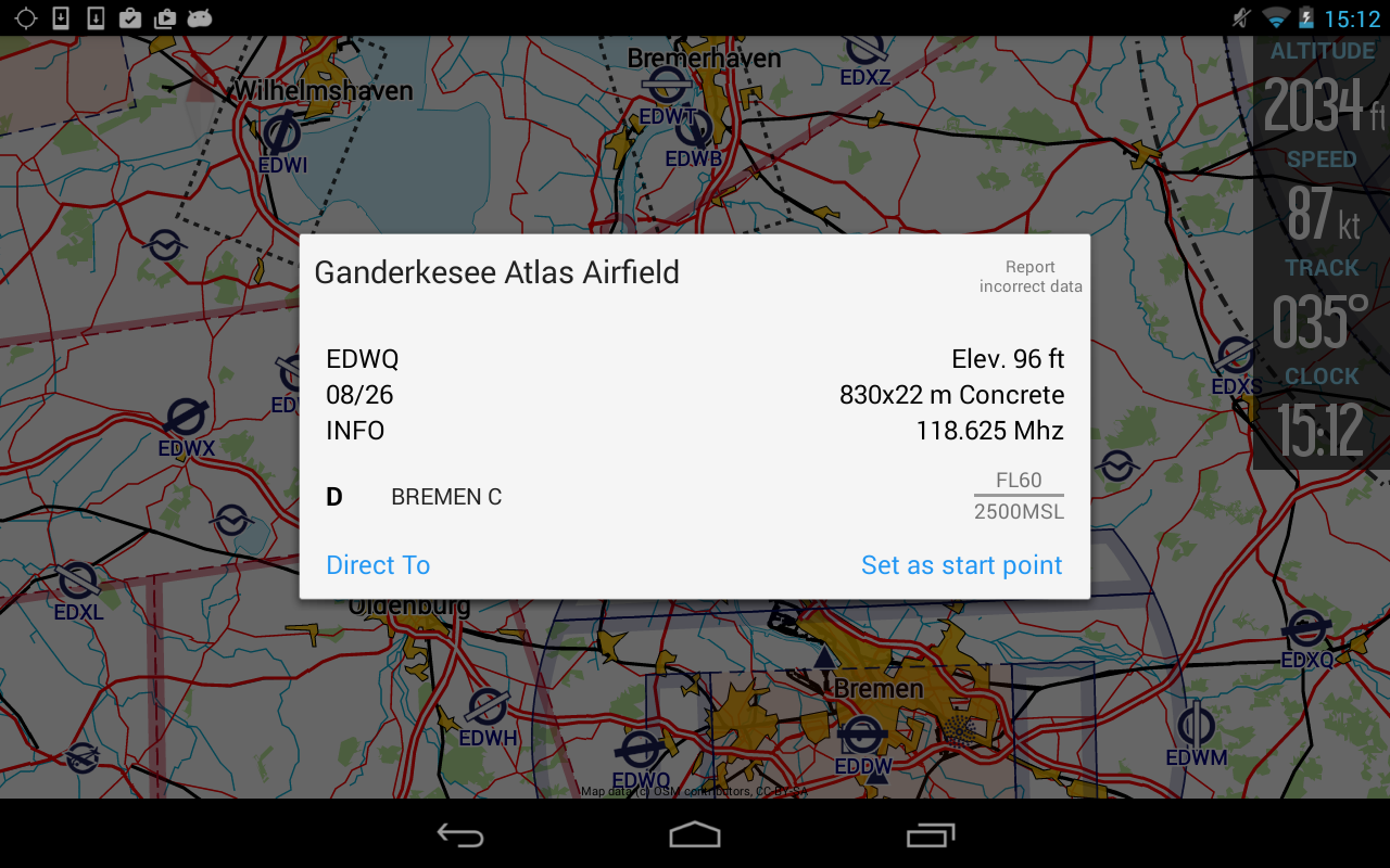 VFRnav flight navigation - screenshot