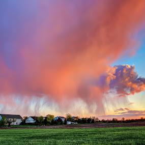 Sunset Rain by Anna-Lee Nemchek Cappaert - Landscapes Weather ( spring storm, sunset, weather, sunset colors, rain clouds, storm, spring, rain )