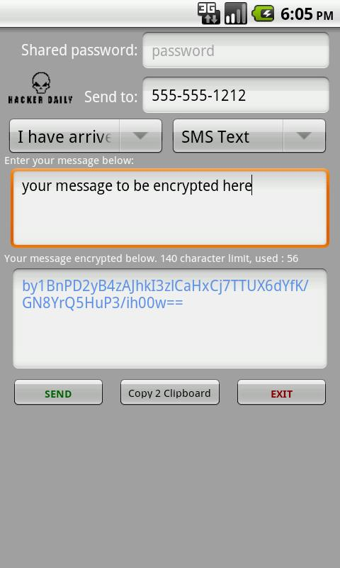 Encrypted Messages - screenshot