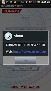 KONAMI OTP Service Software - screenshot thumbnail