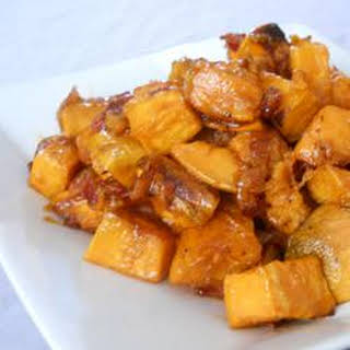 Maple Glazed Sweet Potatoes with Bacon and Caramelized Onions.