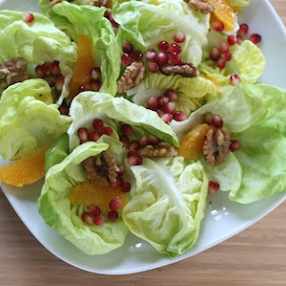 Butter Lettuce Salad with Pomegranate and Walnuts.