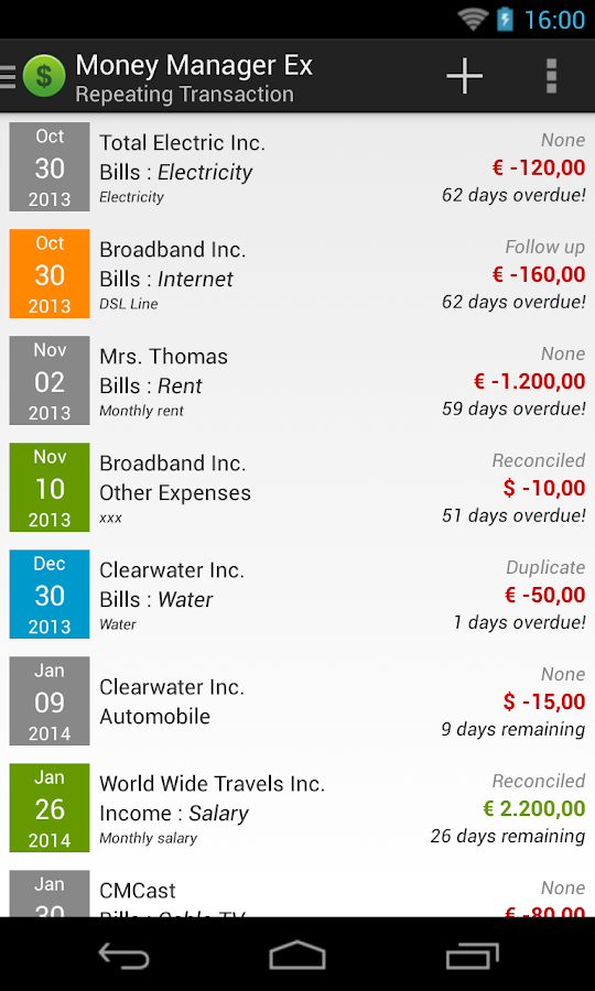 Money Manager Ex for Android- screenshot
