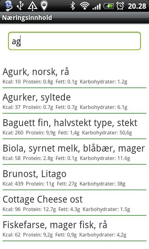 Næringsinnhold - screenshot