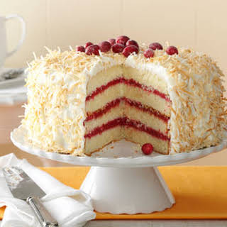 Cranberry Coconut Cake with Marshmallow Cream Frosting.