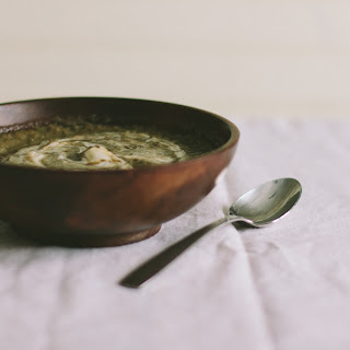 Lentils + Caramelized Leek Soup With Honey Crème Fraîche
