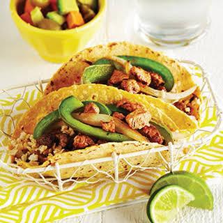 Chile Lime Pork Tacos with Papaya Avocado Salsa.