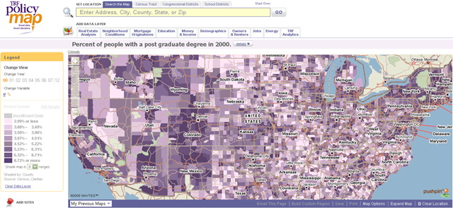 Interesting tool for viewing US census data | PolicyMap