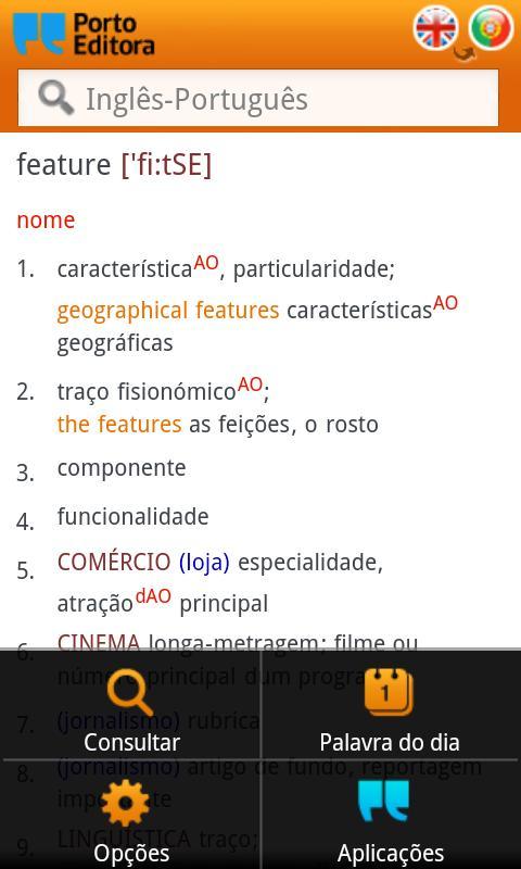Dicionário Inglês-Português- screenshot