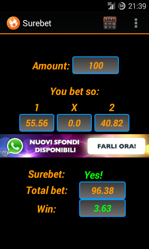 Arbitrage betting- screenshot
