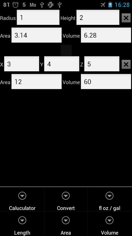 υπολογισμός εμβαδού και όγκου - στιγμιότυπο οθόνης