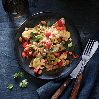 Cheesy Nachos with Pinto Bean Salsa and Pickled Jalapeños