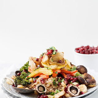 Roasted Vegetable Farro Salad with Pomegrantes