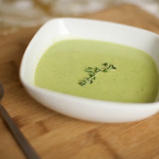 English Pea and Baby Leek Soup.