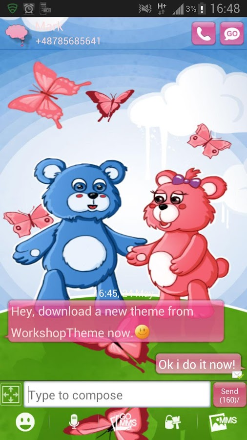 GO SMS Pro Theme teddy bears - screenshot