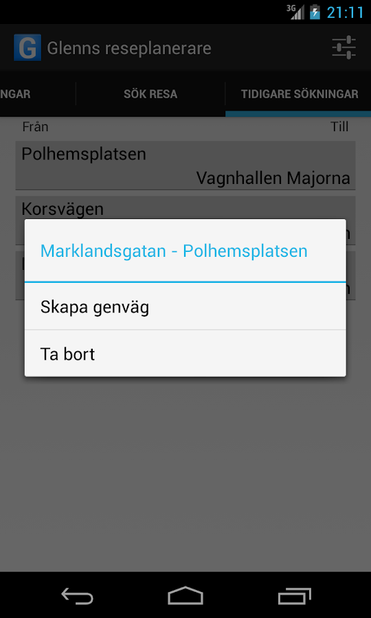 Västtrafik Travelplanner- screenshot