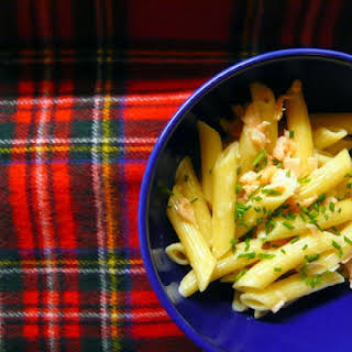 Penne with Smoked Salmon and Whisky Cream Sauce.