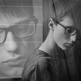 Musing by Gerd Moors - Black & White Portraits & People ( double exposure, black and white, teenager, musing, boy,  )