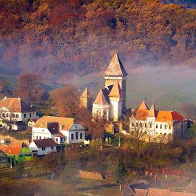 plaiuri de poveste by Nicu Hoandra - City,  Street & Park  Historic Districts ( church, fog, autumn, colours )