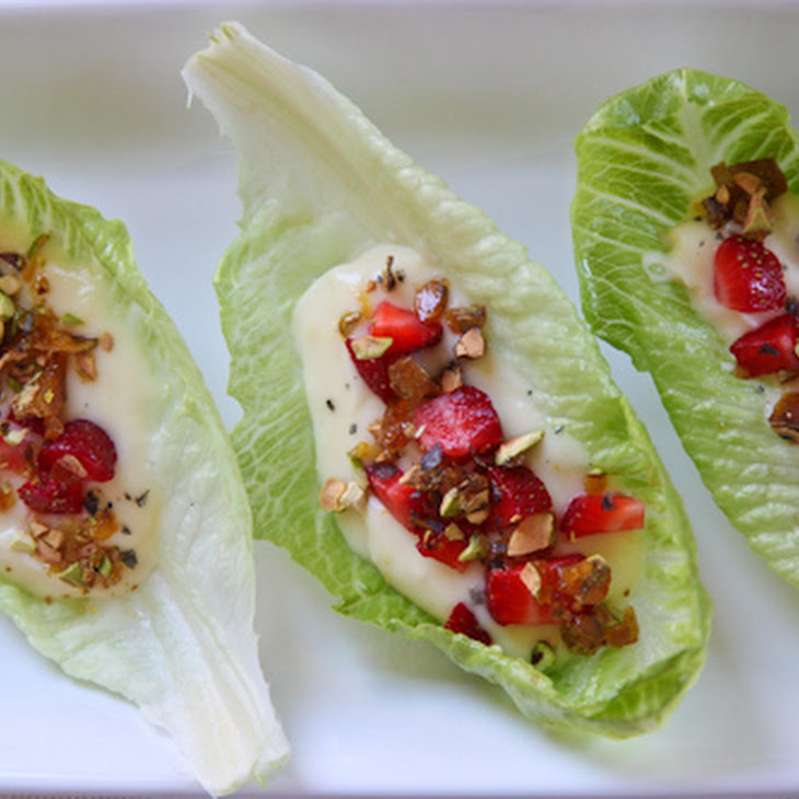 Lemon Pudding on Romaine Leaf Lettuce with Fresh Strawberries, Candied Pistachios and Cypress Black Sea Salt (naturally gluten free)