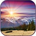 Sunset in the mountains icon
