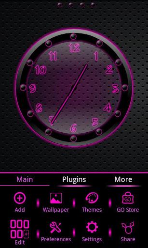 Sleek Ebony Pink Clock Widget