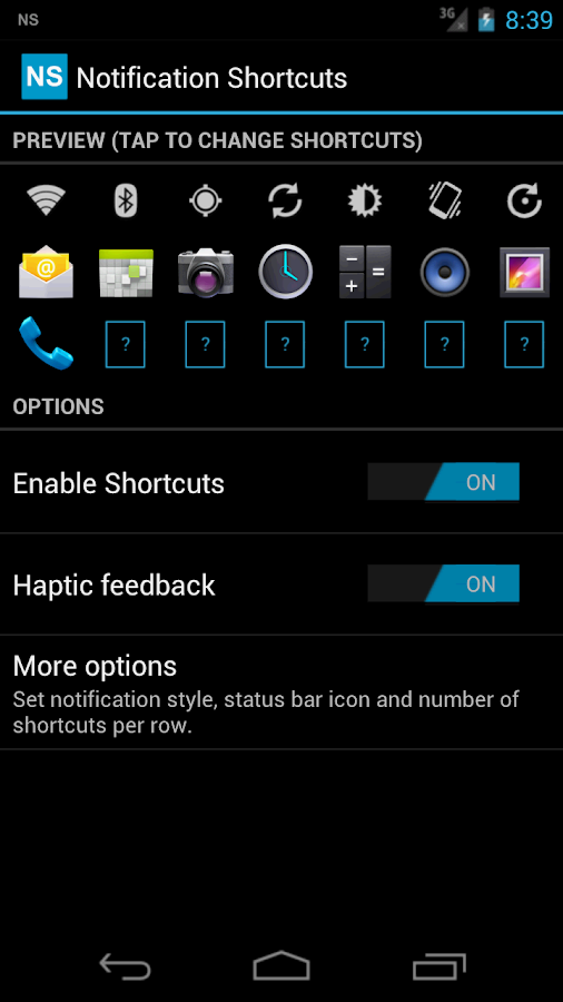 Notification Shortcuts - screenshot