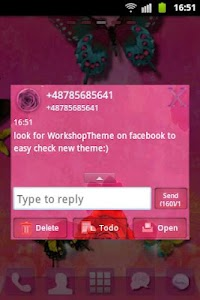 GO SMS Theme Pink Rose Cute screenshot 2