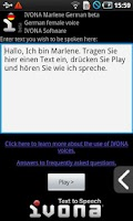 Screenshot of IVONA Marlene German beta