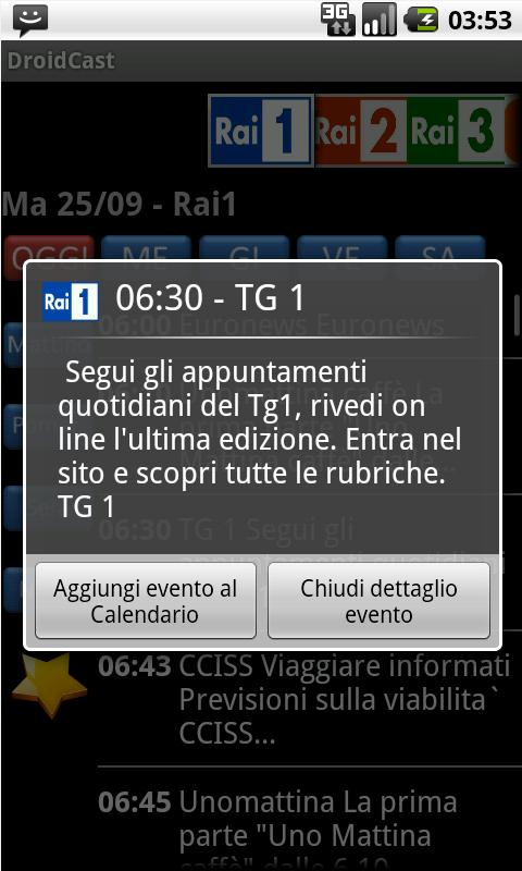 Guida TV Droidcast - screenshot