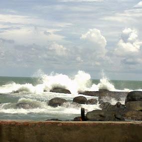 Kanyakumari Beach by Mayank Naharia - Landscapes Beaches ( water, lumia, stone, kerala, beach, landscape )