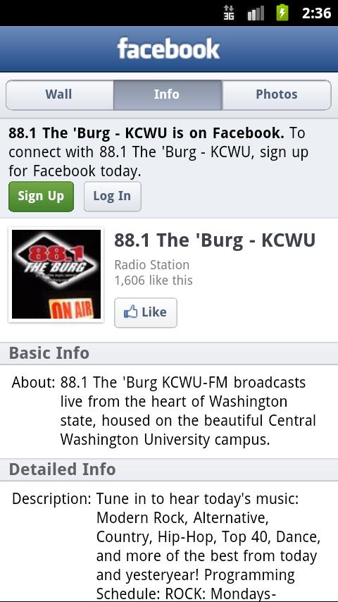 88.1 The 'Burg KCWU-FM - screenshot