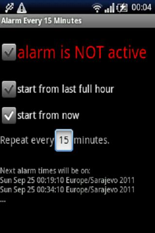 Alarm every 15 minutes - screenshot