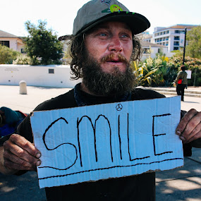 Homeless Love  by Cody Coker - People Portraits of Men ( sign, homeless, travel, smile, people, man )