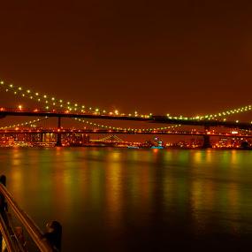Brooklyn Bridge Super Harvest Full Moon by Chad Weisser - Buildings & Architecture Bridges & Suspended Structures ( brooklyn bridge, super harvest full moon, moon, ny,  )