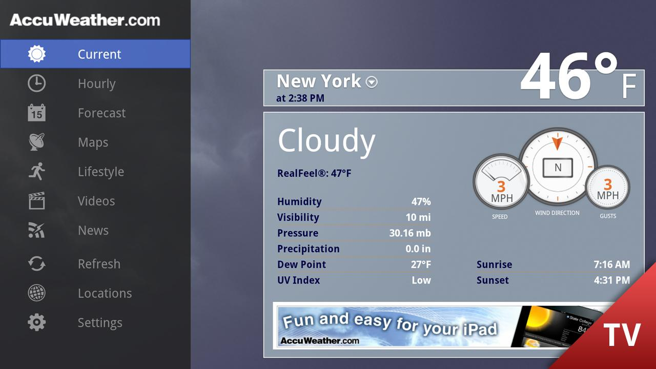 AccuWeather for Google TV- screenshot