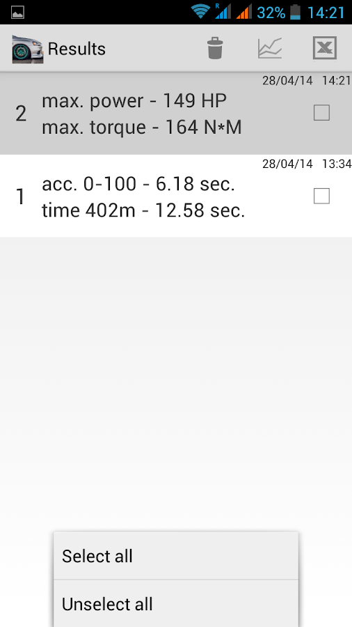 Measurement of acceleration - screenshot